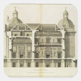 Houghton Hall: tvärsnitt av Hallen och salongen Fyrkantigt Klistermärke