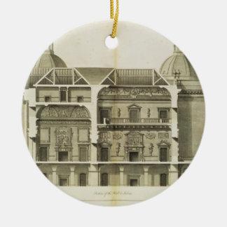 Houghton Hall: tvärsnitt av Hallen och salongen Julgransprydnad Keramik