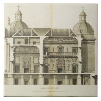 Houghton Hall: tvärsnitt av Hallen och salongen Kakelplatta