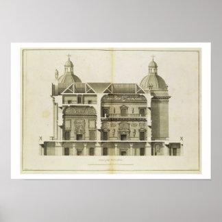 Houghton Hall: tvärsnitt av Hallen och salongen Poster