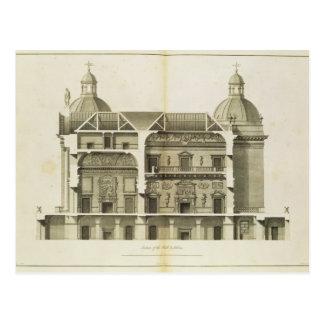 Houghton Hall: tvärsnitt av Hallen och salongen Vykort