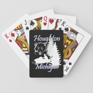 Houghton Michigan Snowmobilebjörn som leker kort Spel Kort