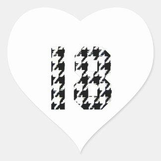 Houndstooth en arton hjärtformat klistermärke