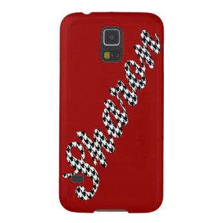 Houndstooth trycknamn Sharon Galaxy S5 Fodral