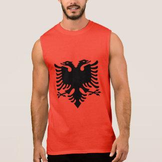 Hövdad örn för albansk flaggadubbla på rött tyg ärmlös tröja