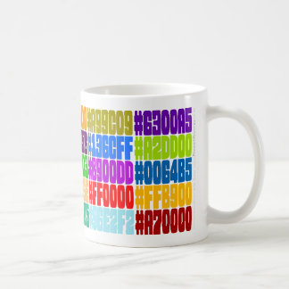 Html-färgmugg. (Specifikationer för HexRGB-färg) Kaffemugg