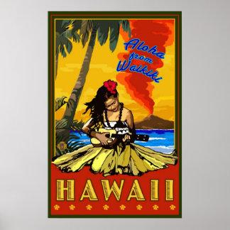 Hula flicka - Waikiki, affisch för Hawaii diamanth