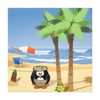 Hula pingvin på semestertecknadillustration canvastryck
