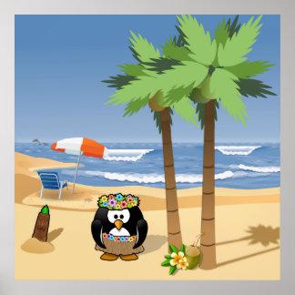 Hula pingvin på semestertecknadillustration poster