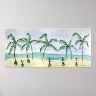 Hulas på de strandaffischerna & trycken poster