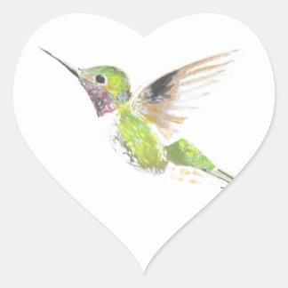 Hummingbird Hjärtformat Klistermärke