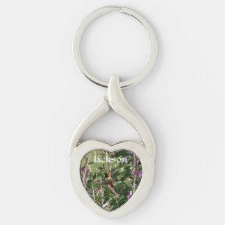 Hummingbird i lila blommor twisted heart silverfärgad nyckelring