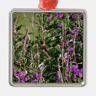 Hummingbird i lilor julgransprydnad metall