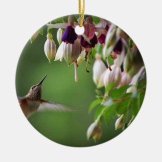 Hummingbird och Fushia växt Julgransprydnad Keramik