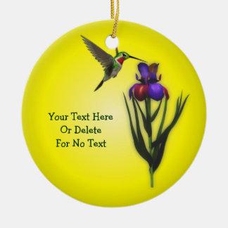 Hummingbird- och Irisblommapersonlig Julgransprydnad Keramik