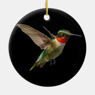 Hummingbird och riddarsporre julgransprydnad keramik