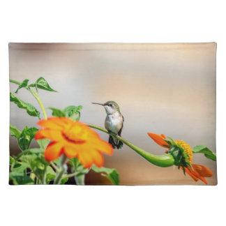 Hummingbird på en blommarväxt bordstablett