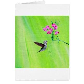 Hummingbird & söta ärtor hälsningskort