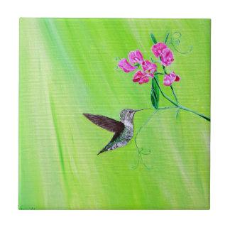 Hummingbird & söta ärtor kakelplatta