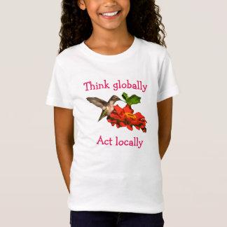 Hummingbirden på tänka agerar globalt lokalt t-shirt