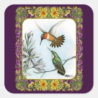 Hummingbirds och blommor #2 fyrkantigt klistermärke