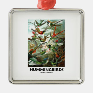 Hummingbirds Silverfärgad Fyrkantigt Julgransprydnad