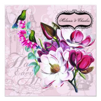 HummingbirdsMagnolias kvadrerar bröllopinbjudan Fyrkantigt 13,3 Cm Inbjudningskort