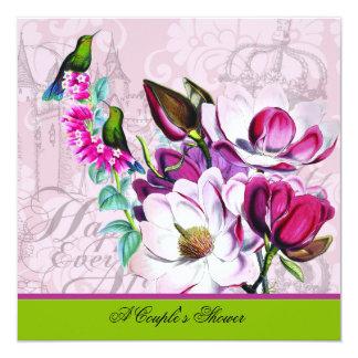 HummingbirdsMagnoliaspars inbjudan för dusch Fyrkantigt 13,3 Cm Inbjudningskort