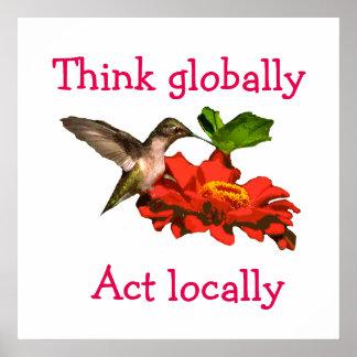 Hummingbirdtänkan agerar globalt lokalt den röda poster