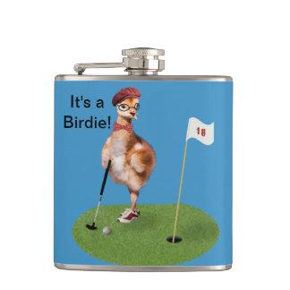 Humoristisk fågel som leker Golf Fickplunta
