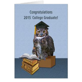 Humoristisk högskolastudentenuggla 2015 hälsningskort