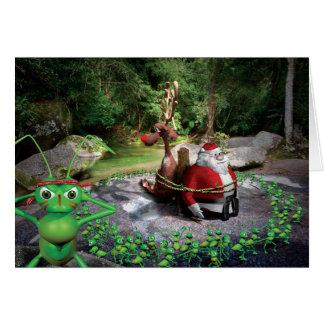 Humoristisk julkort av Santas pilgrimsfärd Hälsningskort
