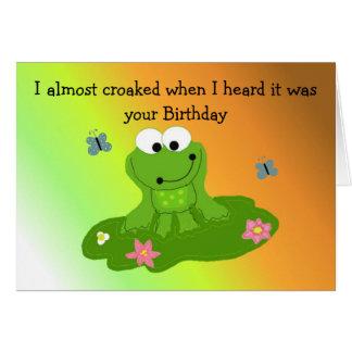 Humoristisk tecknadgrodafödelsedag hälsningskort