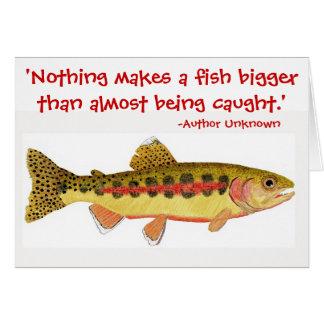 Humoristiskt fiskecitationstecken med hälsningskort