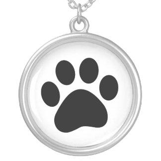 Hund älskarehalsband med tasstrycket silverpläterat halsband