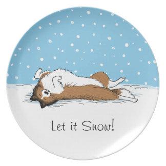 Hund för snö för Shetland Sheepdog - Sheltie Tallrik
