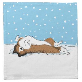 Hund för snö för Shetland Sheepdog - Sheltie Tygservett
