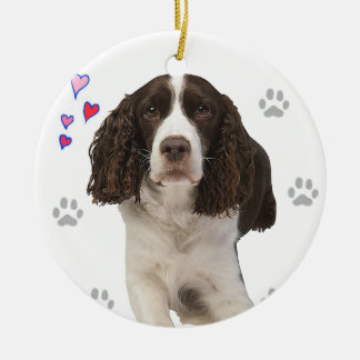 Hund för Spaniel för engelsk Springer Julgransprydnad Keramik