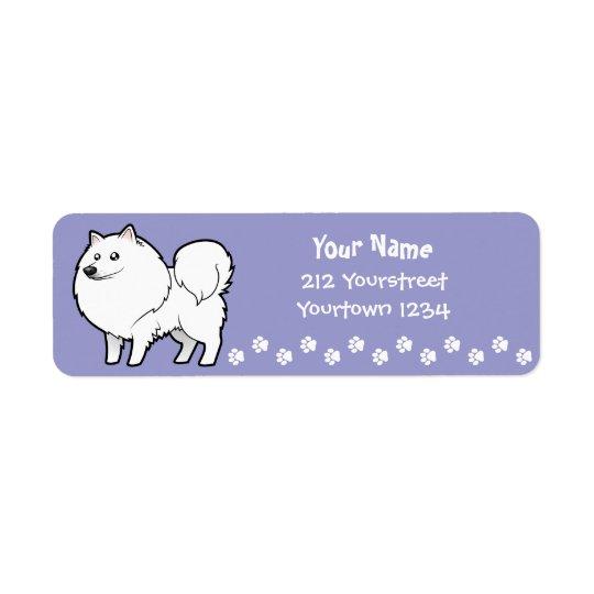 Hund för tecknadamerikaneskimå/tysk Spitz Returadress Etikett