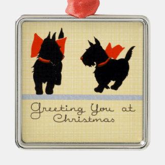 Hund för vintagejulTerrier Julgransprydnad Metall