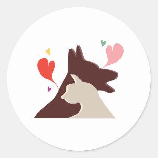 Hund & katt runt klistermärke