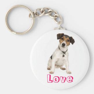 Hund Keychain för valp för kärlekjackRussell Terri Nyckel Ringar