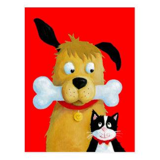 Hund med ben katten - rolig vykort
