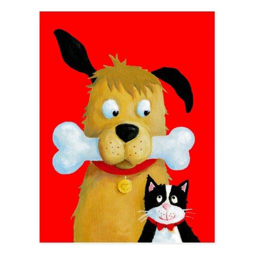 Hund med ben & katten - rolig vykort