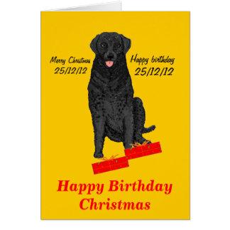 Hund med jul och födelsedagpresenter hälsningskort