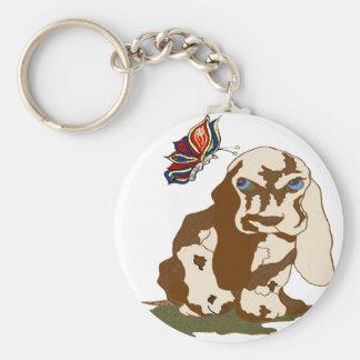 hund och fjärilstransprtgif rund nyckelring