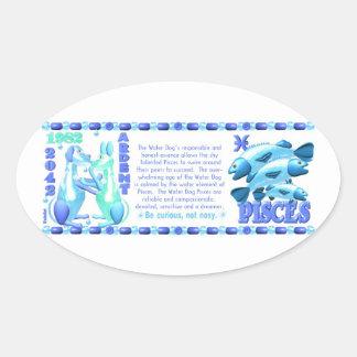 Hund Pisces född 1922 1982 för ValxArt Ovalt Klistermärke