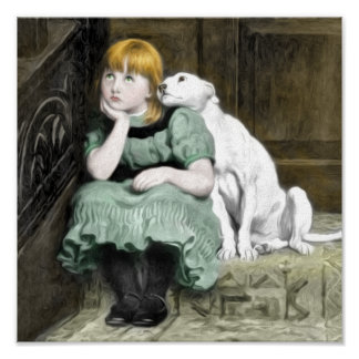Hund som älskar flickaVictorianmålning Poster