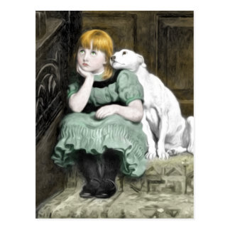 Hund som älskar flickaVictorianmålning Vykort