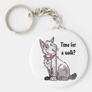 """Hund """"Time för en gå"""" Keychain Rund Nyckelring"""